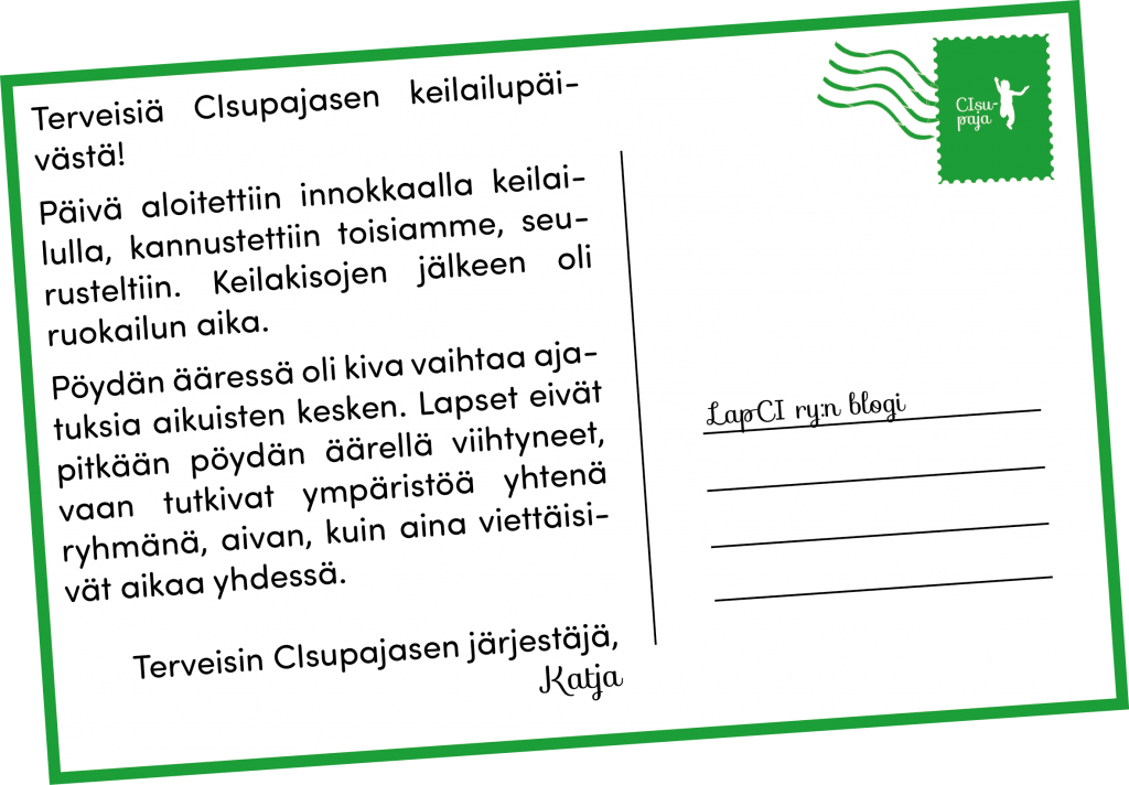 Postikortti CIsupajasen keilauspäivästä