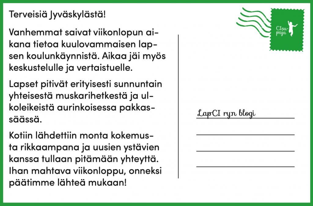Postikortti: Terveisiä Jyväskylän Perhepäiville!