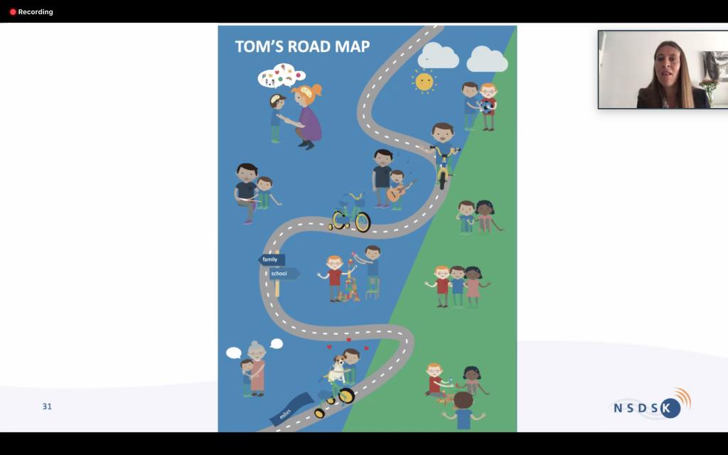 Kuvakaappaus NSDSK:n luennosta, kuvassa TOM-kartta / Satakieliseminaari