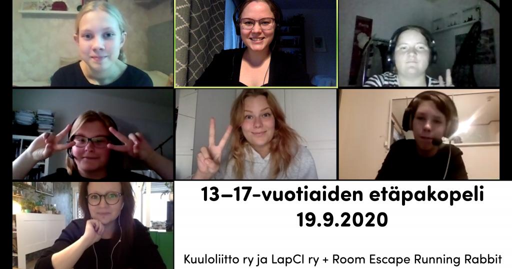 Zoom-kuvakaappaus nuorten etäpakopelin osallistujista  /etäpakopeli vol. 2