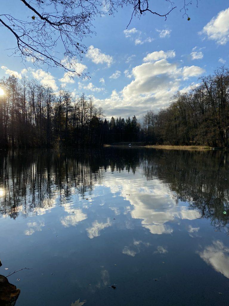 Kuvassa vanhempien viikonlopun maisema järvelle päin: puita, pilviä, ja peilityyni vesi