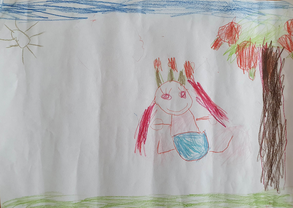Pictured is a drawing by Ada. In the drawing there's a princess/fairy taking a walk in the woods.  / Ada's story