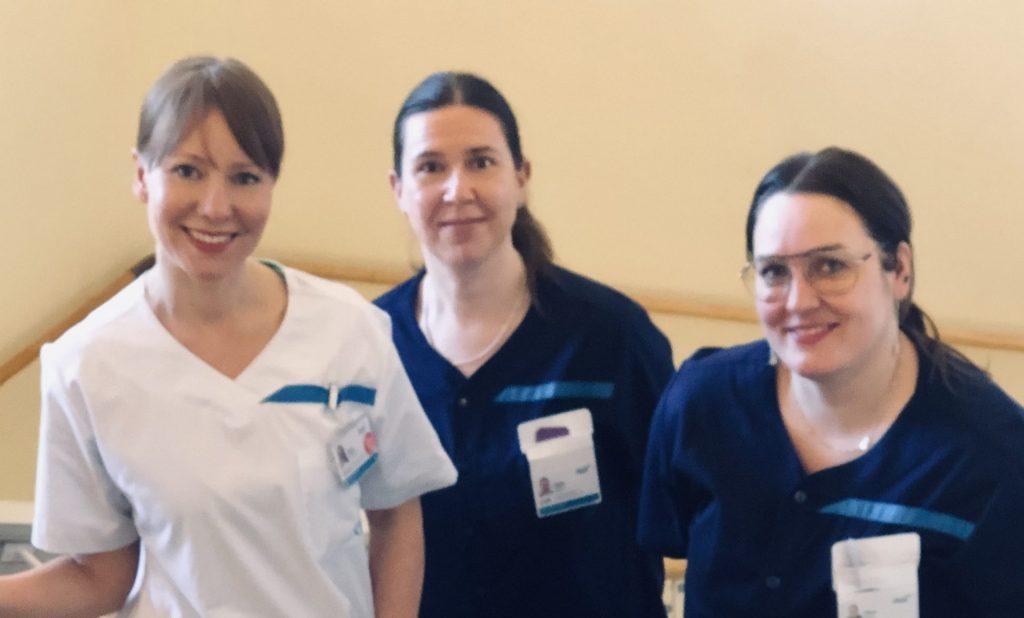 Kuvassa kuntoutusohjaajat Petra Peltonen, Tiina Kujala ja Mira Vuoriheimo