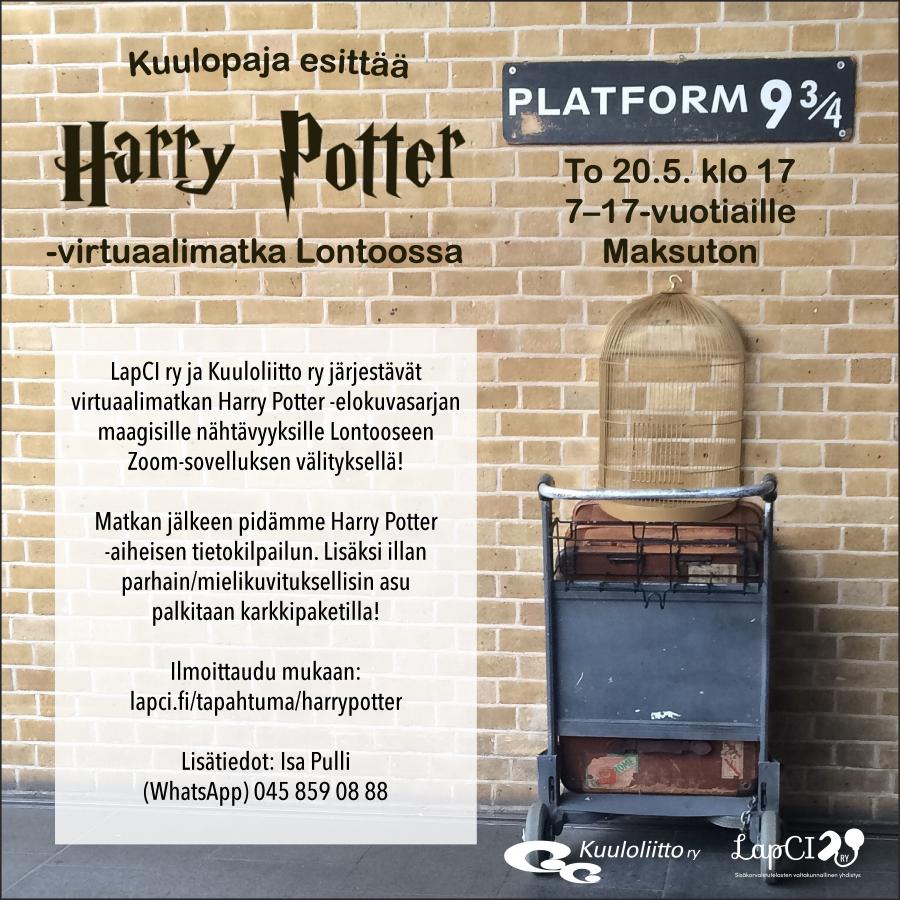 Harry Potter -virtuaalimatkan mainoskuva, jossa näkyy laituri 9 ja 3/4