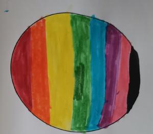 Kuvassa sateenkaaren värinen kelahattusuunnitelma