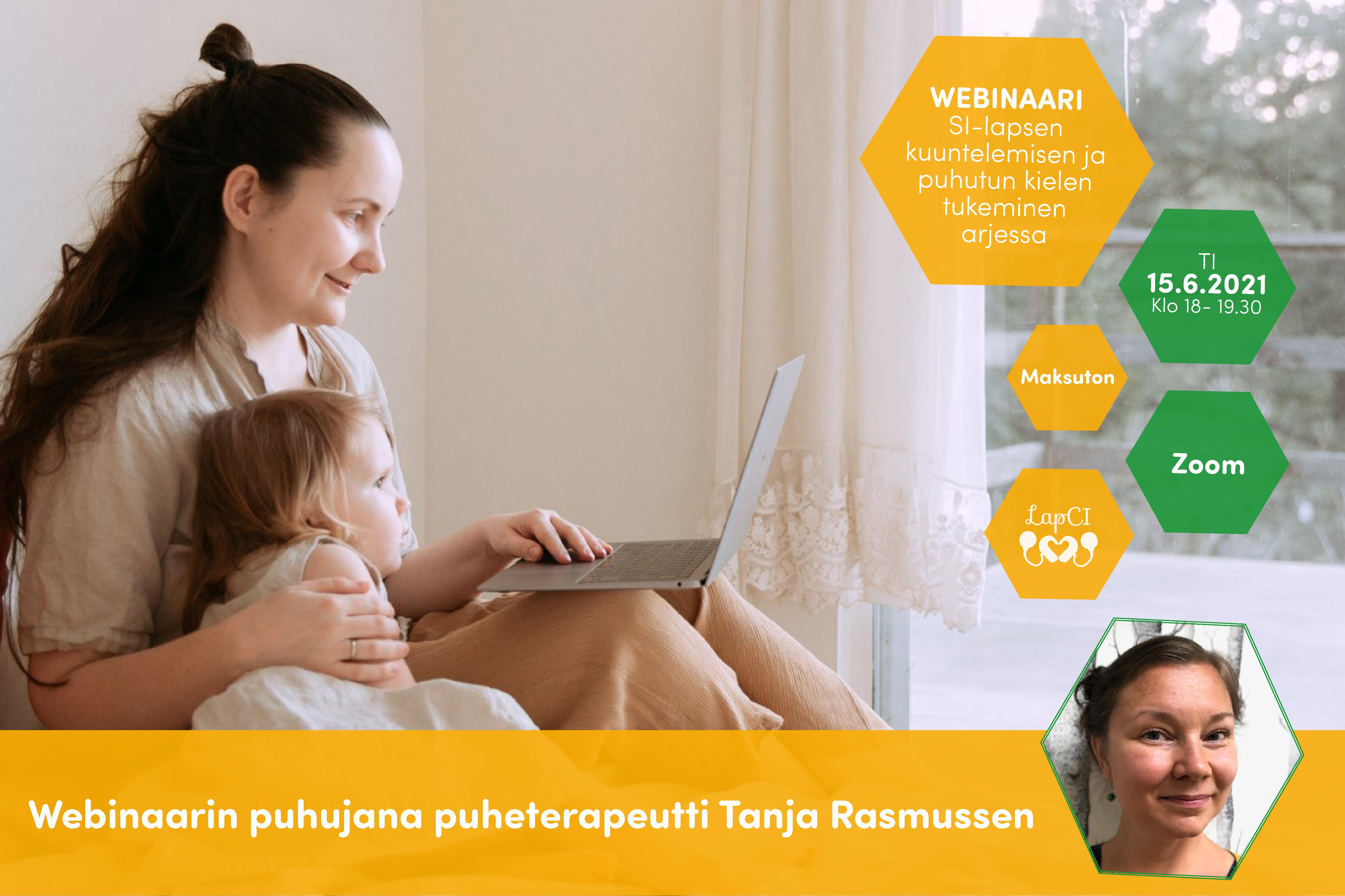 Kuvassa äiti ja lapsi istuvat sängyllä ja katsovat läppärin näyttöä. Kuvioissa Tanja Rasmussenin kuva ja tiedot webinaarista.