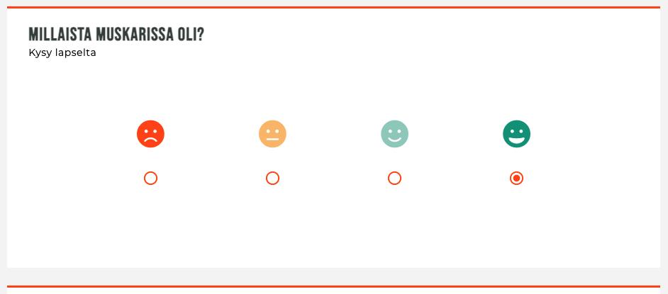 """Kuvassa kuvakaappaus Kuulomuskarin Pokka-kyselystä: Kysymykseen """"Millaista muskarissa oli?"""" on vastattu vihreällä hymynaamalla"""