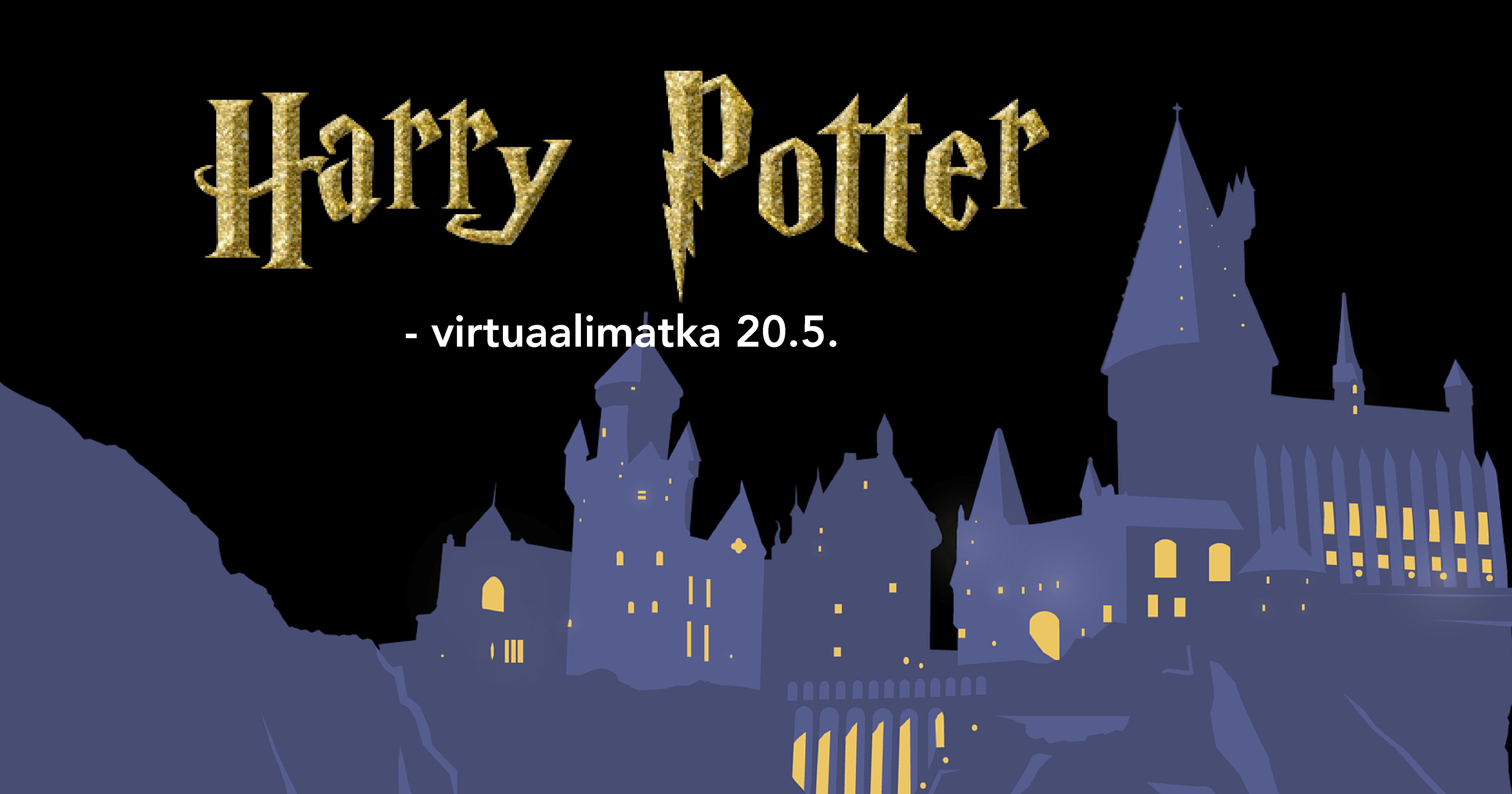 """Kuvassa taustalla Tylypahkan linnan siluetti. Edessä lukee """"Harry Potter -viertuaalimatka 20.5."""""""