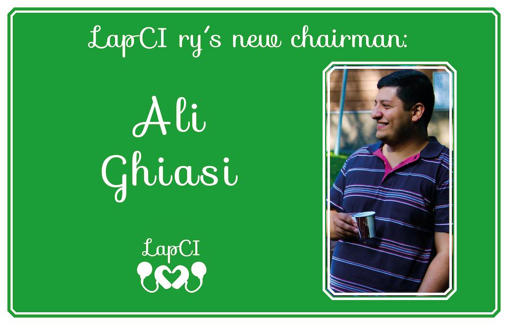 """Kuvassa teksti """"LapCI ry´s new chairman Ali Ghiasi"""". Alhaalla Lapci ry logo."""