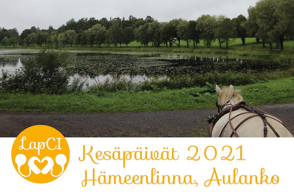 Kuvassa järvimaisema ja hevosen selkä. Teksti Kesäpäivät 2021 Hämeenlinna Aulanko. LapCI ry:n logo