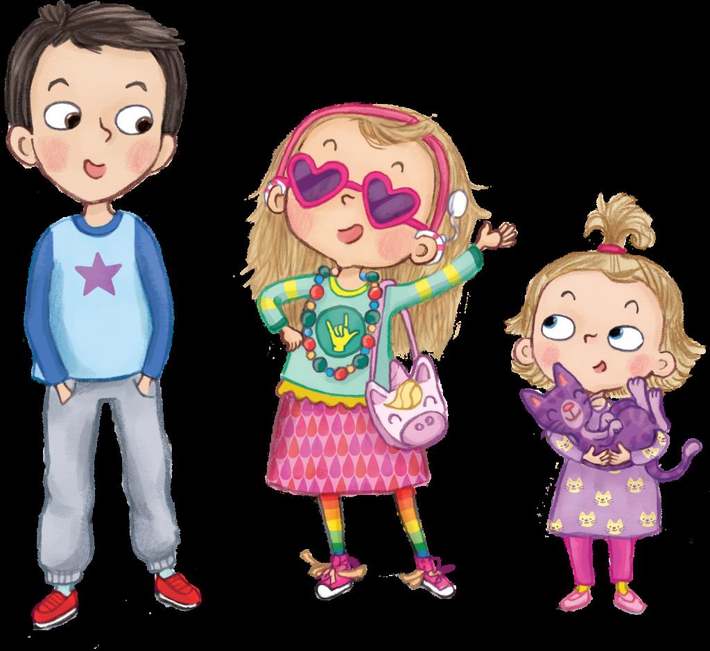 Kuvitukset Lucasta, Sofiasta ja Milasta
