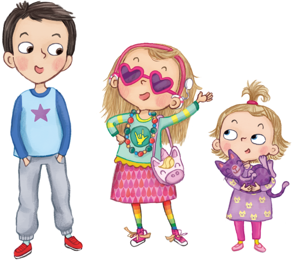Pictured illustrations of Luca, Mila and Sofia, the three kids from the Mighty Mila book