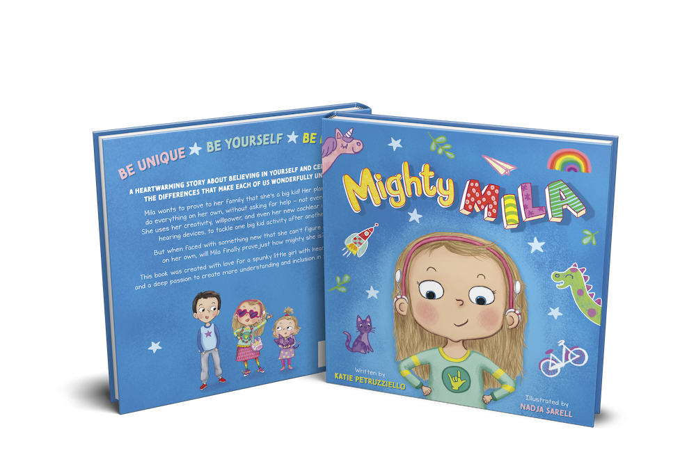 Pictured: Mighty Mila book, back and front