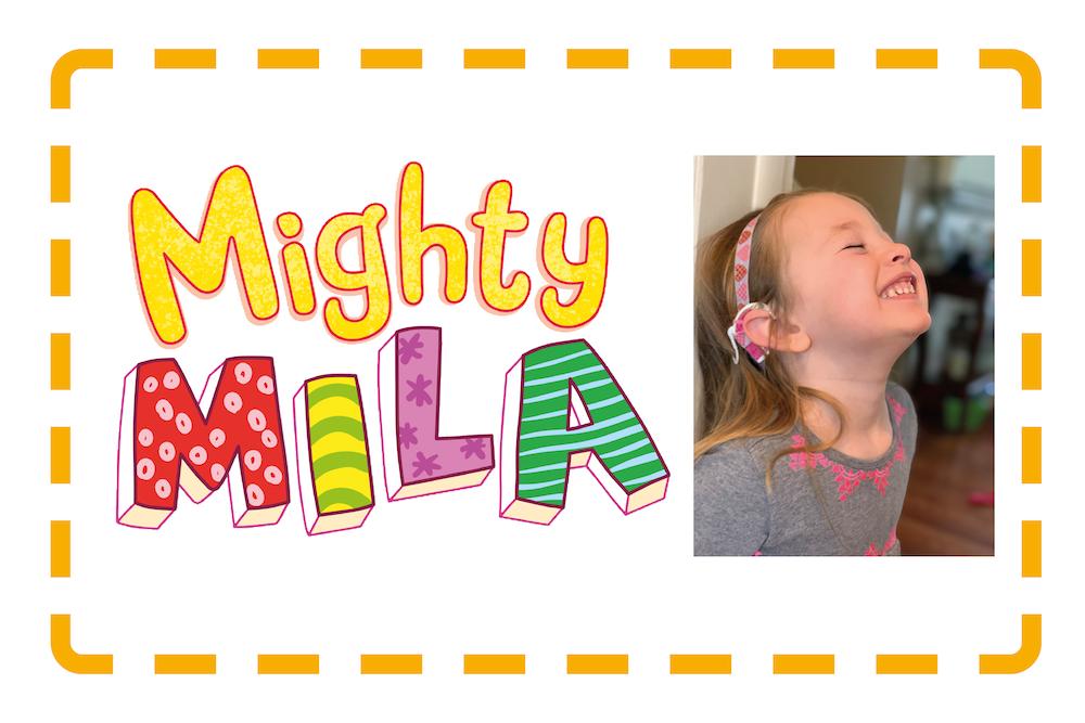 """Kuvassa Mila hymyilee ja teksti """"Mighty Mila"""""""